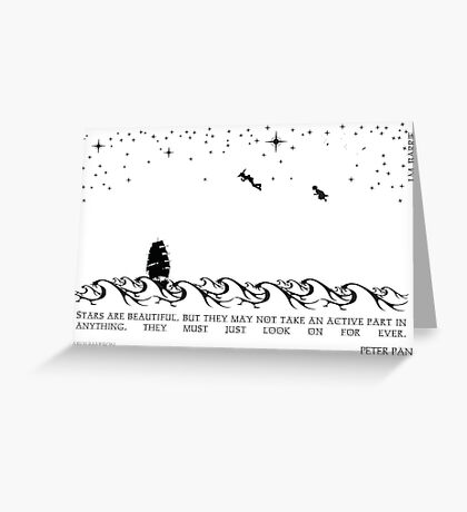 Peter Pan Black and White Illustrated Quote Greeting Card