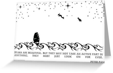 Peter Pan Black and White Illustrated Quote by Emily Farquharson