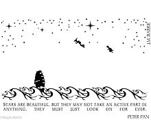 Peter Pan Black and White Illustrated Quote Photographic Print