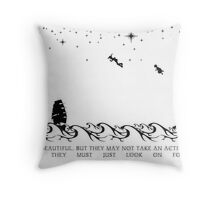 Peter Pan Black and White Illustrated Quote Throw Pillow