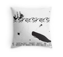 Moby Dick Black and White Illustrated Quote Throw Pillow