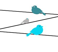Birds on a Wire - Blue by Kelly Walker