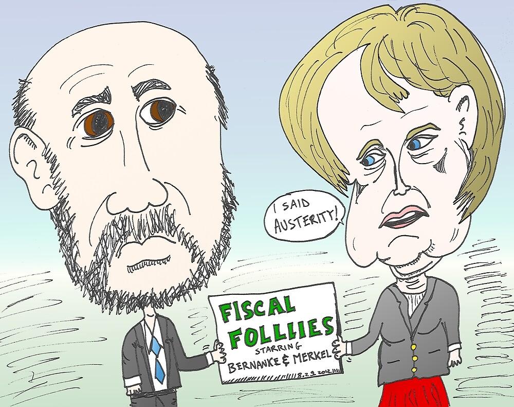 Ben Bernanke and Angela Merkel caricature by Binary-Options