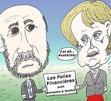 Mekel et Bernanke en caricature des folies boursier by Binary-Options