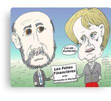Mekel et Bernanke en caricature des folies boursier Canvas Print
