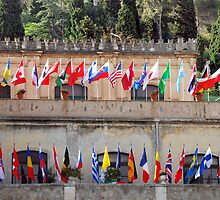 Flags of the world in Taormina by Arie Koene