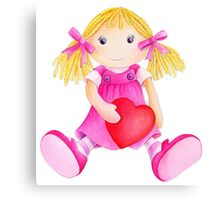 Girls toy rag doll watercolor kids nursery art pink Canvas Print
