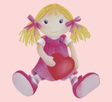 Girls toy rag doll watercolor kids nursery art pink Kids Tee