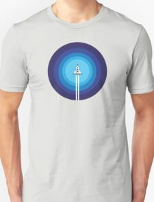 Rocket ship flies past the Blue Planet T-Shirt
