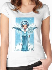 The Snow Fairy & Her Polar Bear Friends Women's Fitted Scoop T-Shirt