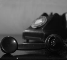 Vintage Telephone black-and-white by BlossomingBeth