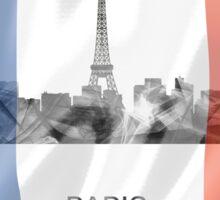 Paris, France Skyline with Flag WB Sticker