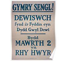 Gymry sengl! Dewiswch fynd ir fyddin cyn dydd gwyl dewi Bydd mawrth 2 yn rhy hwyr 365 Poster