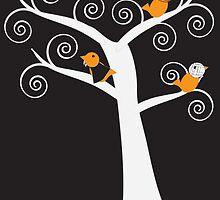 Halloween Five Birds  by ValeriesGallery