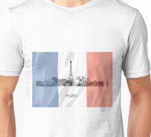 Paris, France Skyline with Flag WB Unisex T-Shirt