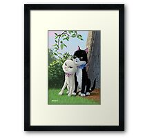 two romantic cats in love by tree Framed Print