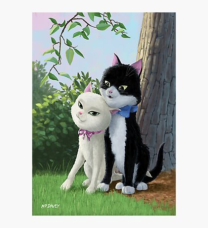 two romantic cats in love by tree Photographic Print