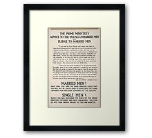 The prime ministers advice to the young unmarried men and pledge to married men 323 Framed Print