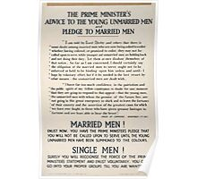 The prime ministers advice to the young unmarried men and pledge to married men 323 Poster