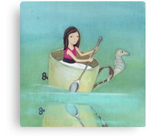 Girl rowing her teacup and seahorse away from extinction Canvas Print