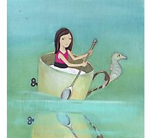 Girl rowing her teacup and seahorse away from extinction Photographic Print