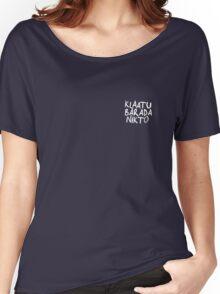 Klaatu Barada Nikto - Evil Dead (white)  Women's Relaxed Fit T-Shirt