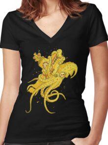 yellow Kracken Women's Fitted V-Neck T-Shirt