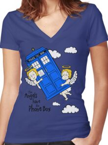 The Angels have the Phone Box - Version 2 (for light tees) Women's Fitted V-Neck T-Shirt