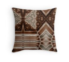Polished Wood Inlay Throw Pillow
