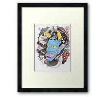 Blue Oni Flash Framed Print
