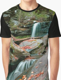 Falling Water Meets Fallen Leaves Graphic T-Shirt