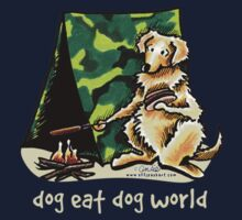Golden Retriever Dog Eat Dog {kids, dark} Kids Tee