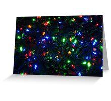Illuminated closeup of tangled Christmas lights Greeting Card