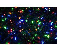 Illuminated closeup of tangled Christmas lights Photographic Print