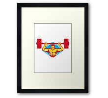 weightlifter body builder lifting weights  retro Framed Print