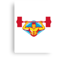 weightlifter body builder lifting weights  retro Canvas Print