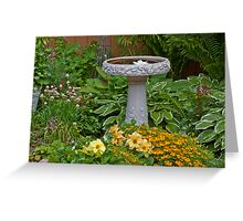 Bird Bath Garden Scene  Greeting Card