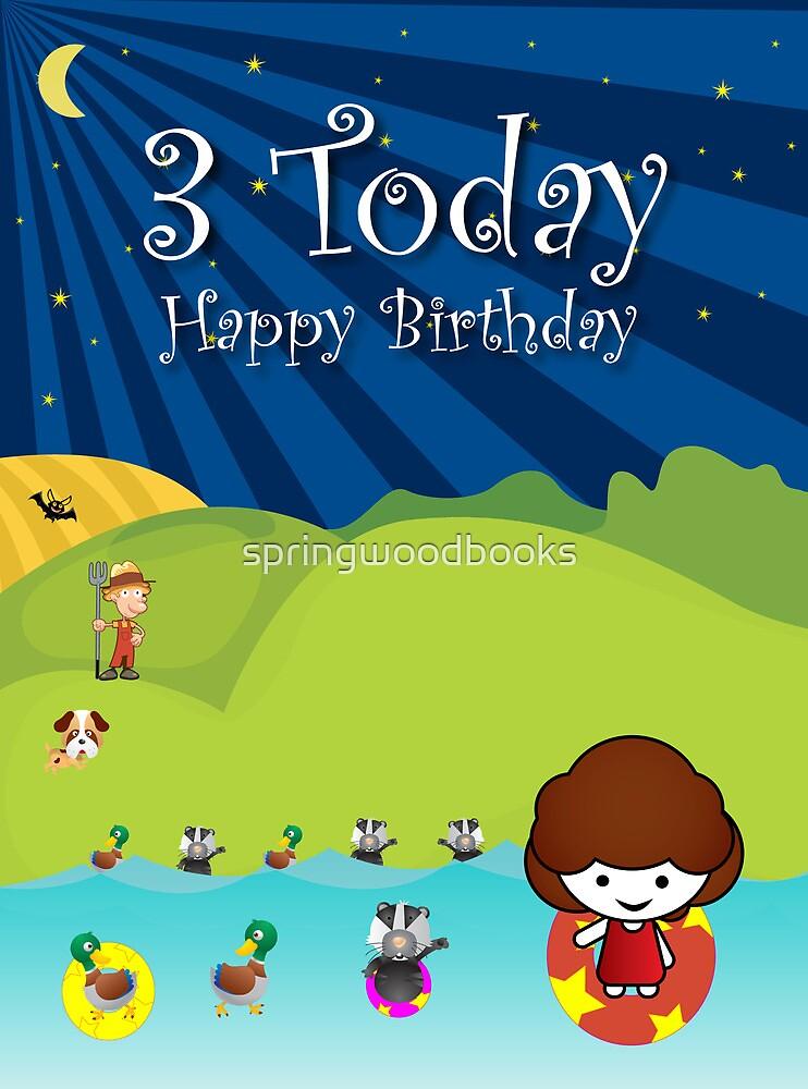 The Night Badgers 3rd Birthday Card  by springwoodbooks