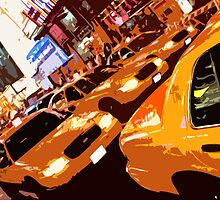 Times Square Taxis by Gordon Nightingale