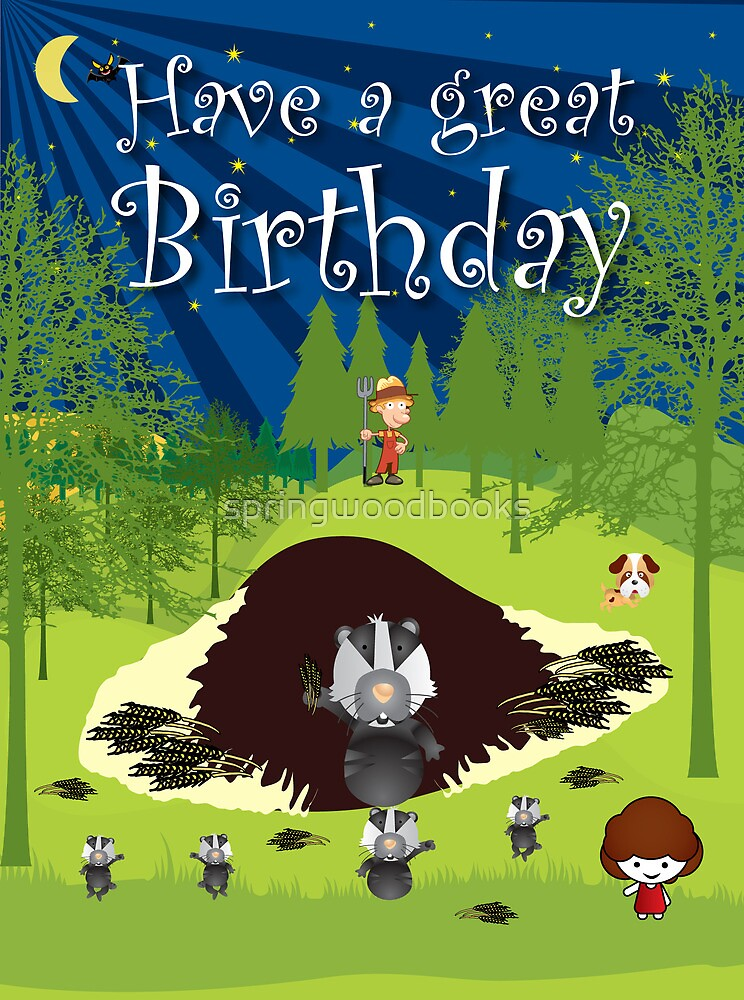 The Night Badgers New Home Birthday Card by springwoodbooks