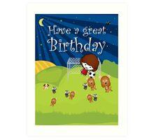 The Night Badgers Play Football Birthday Card Art Print