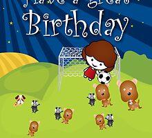 The Night Badgers Play Football Birthday Card by springwoodbooks