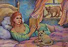 Girl Reading Cats Watching by HDPotwin