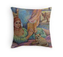 Girl Reading Cats Watching Throw Pillow