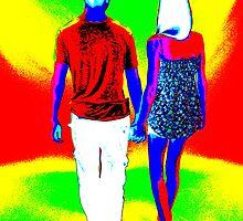 couple walking, 60's style pop art. by cool3water