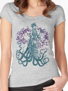 Octopus Lady Holding a Dancing Mouse Women's Fitted Scoop T-Shirt