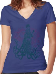 Octopus Lady Holding a Dancing Mouse Women's Fitted V-Neck T-Shirt