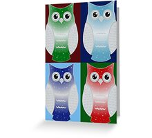 Snow Owls Patchwork Greeting Card