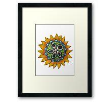Sun Sunflower Mandala Original Print Design from Clay Framed Print