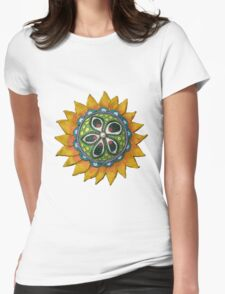 Sun Sunflower Mandala Original Print Design from Clay Womens Fitted T-Shirt